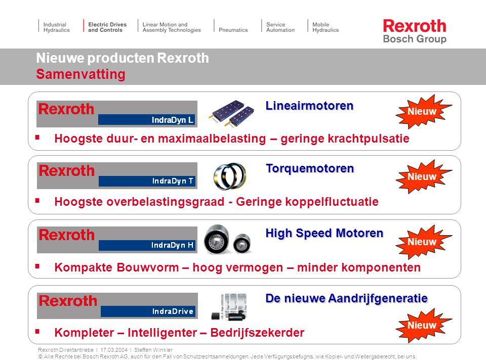 Nieuwe producten Rexroth Samenvatting