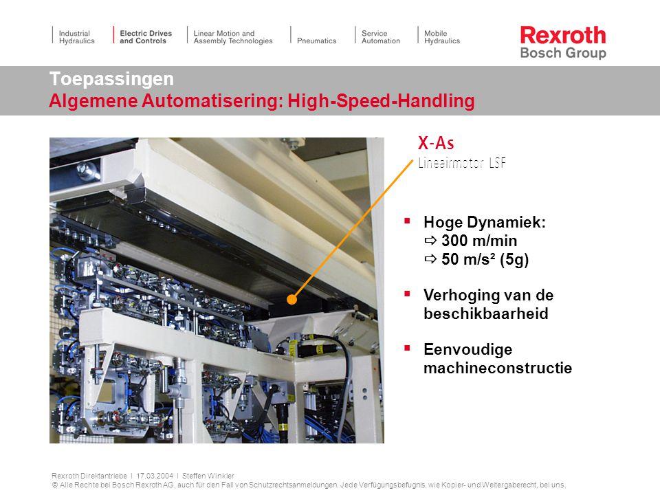Toepassingen Algemene Automatisering: High-Speed-Handling