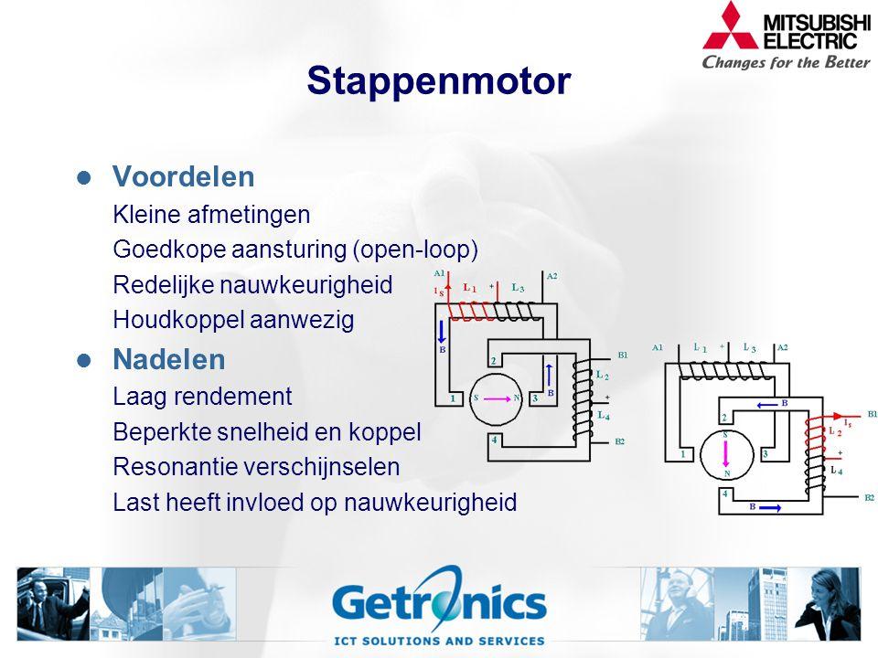 Stappenmotor Voordelen Nadelen Kleine afmetingen