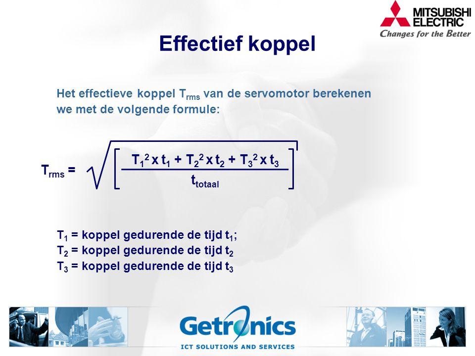 Effectief koppel Trms = T12 x t1 + T22 x t2 + T32 x t3 ttotaal