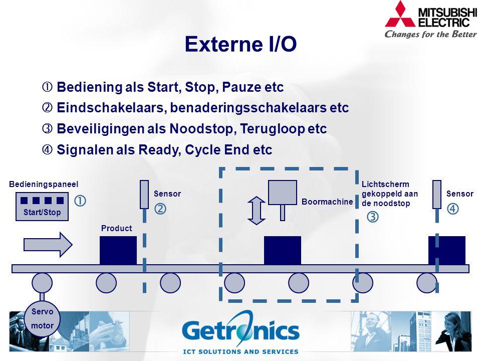 Externe I/O      Bediening als Start, Stop, Pauze etc