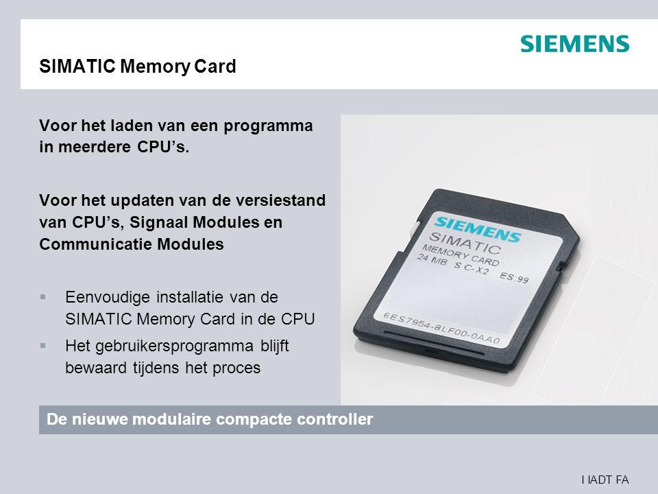 SIMATIC Memory Card Voor het laden van een programma in meerdere CPU's.