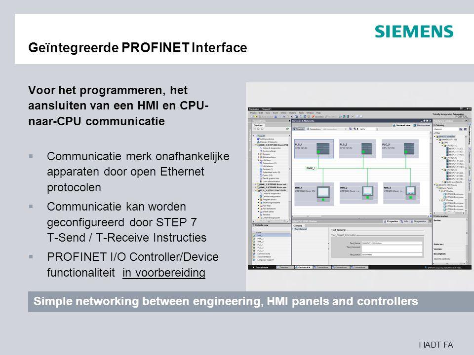 Geïntegreerde PROFINET Interface