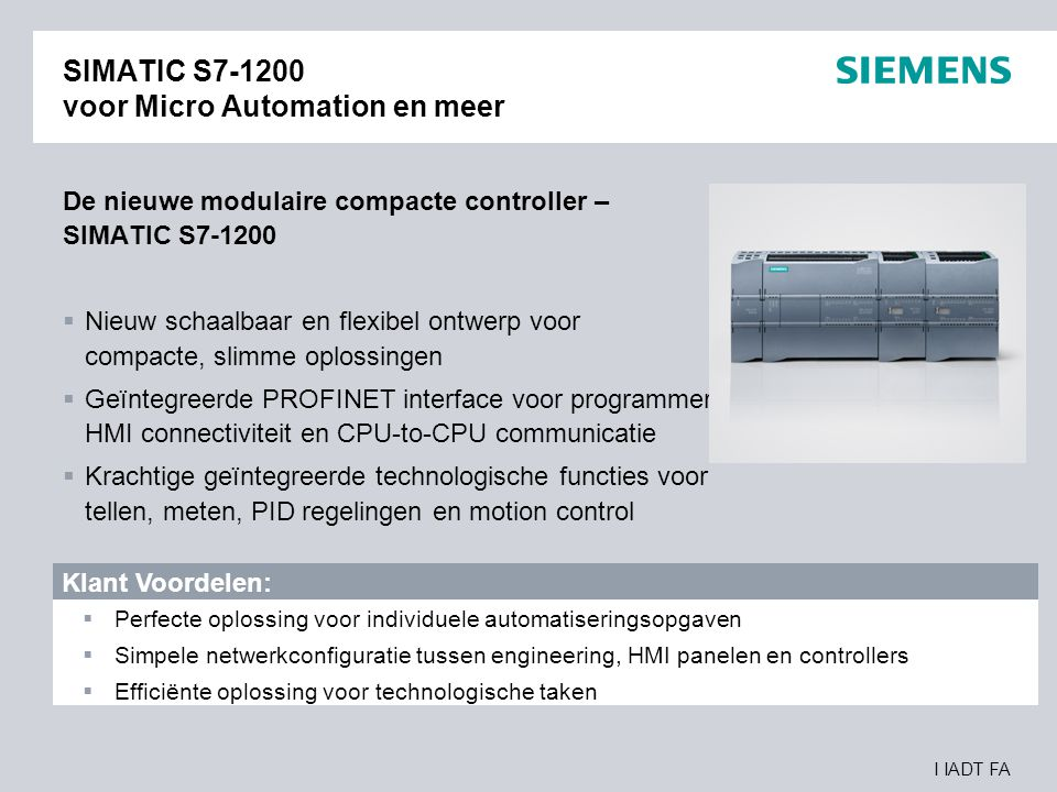SIMATIC S7-1200 voor Micro Automation en meer