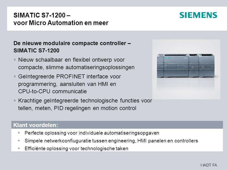 SIMATIC S7-1200 – voor Micro Automation en meer