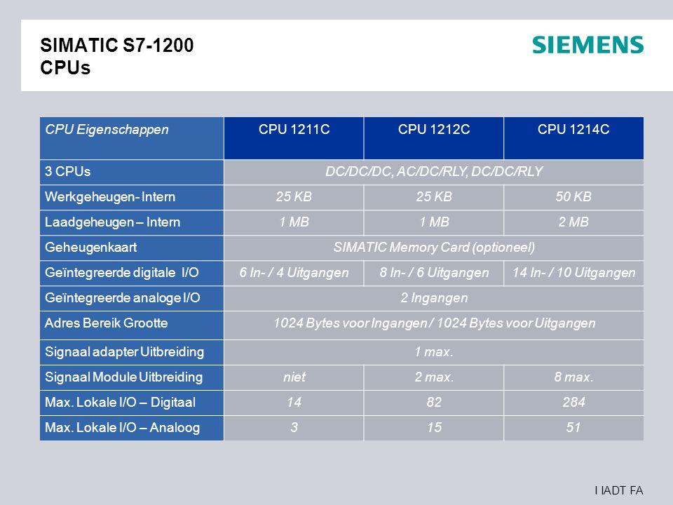 SIMATIC S7-1200 CPUs CPU Eigenschappen CPU 1211C CPU 1212C CPU 1214C