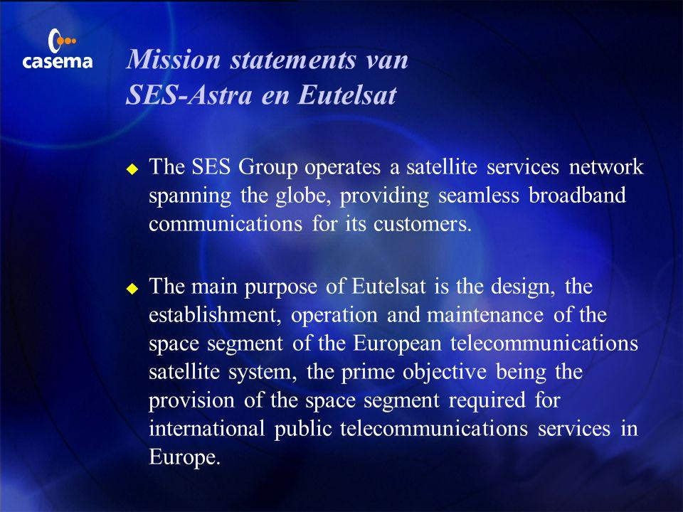 Mission statements van SES-Astra en Eutelsat