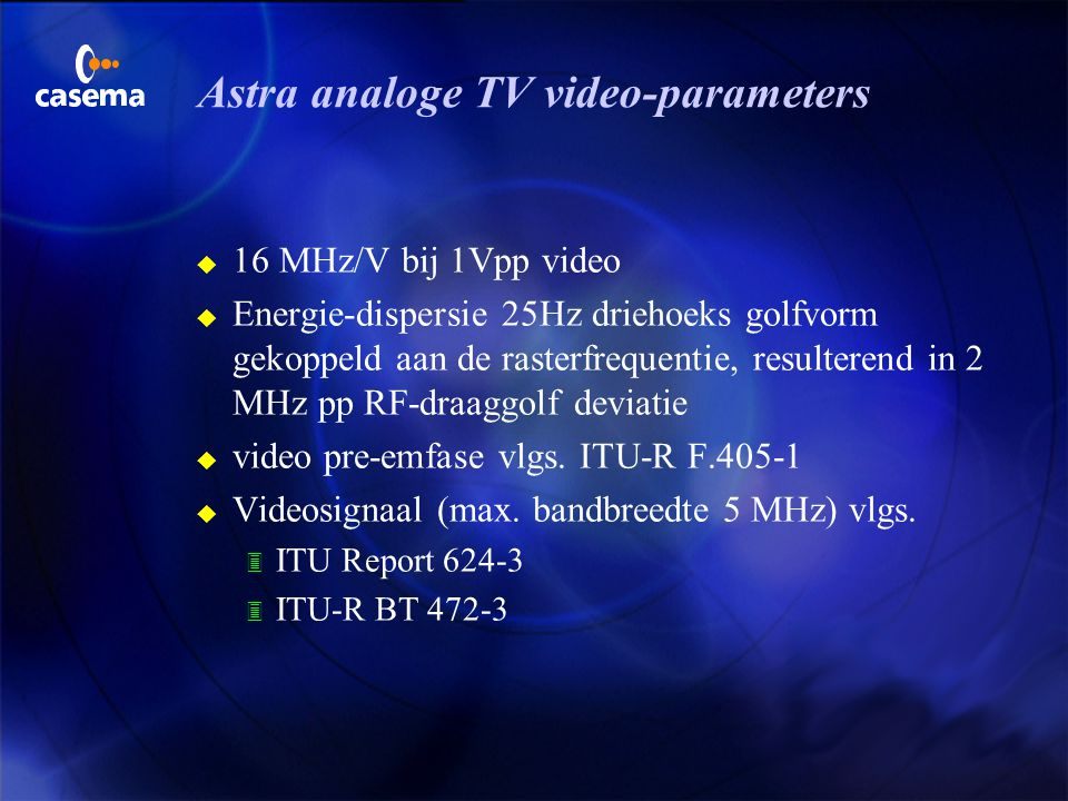 Astra analoge TV video-parameters