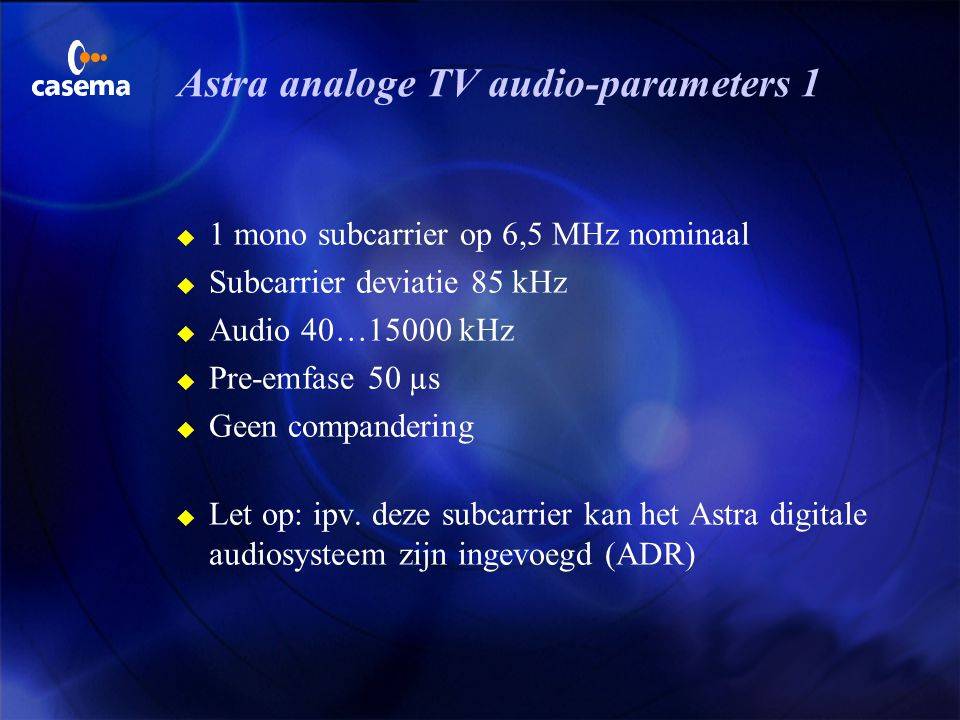 Astra analoge TV audio-parameters 1