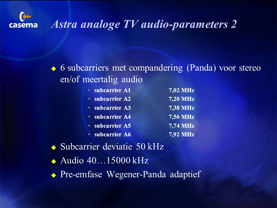 Astra analoge TV audio-parameters 2