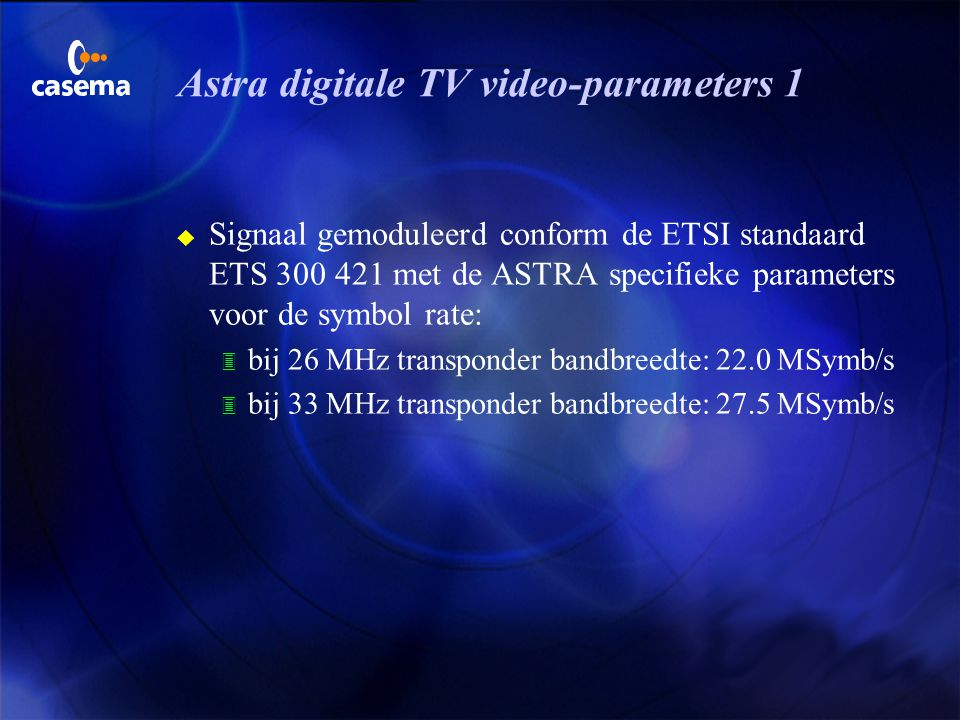 Astra digitale TV video-parameters 1