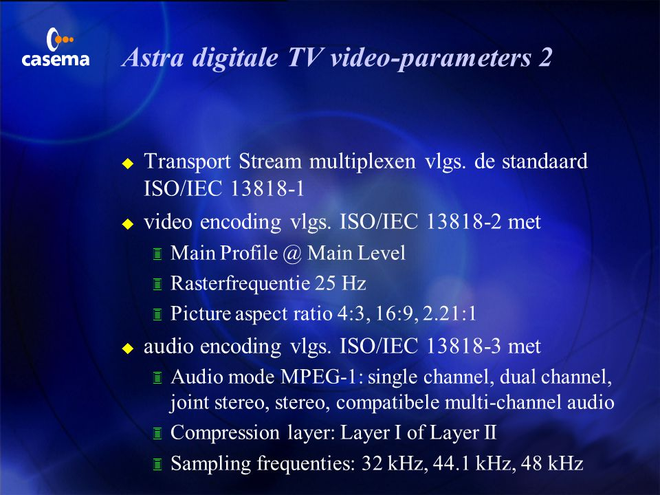 Astra digitale TV video-parameters 2
