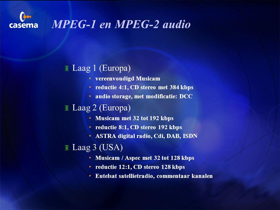 MPEG-1 en MPEG-2 audio Laag 1 (Europa) Laag 2 (Europa) Laag 3 (USA)