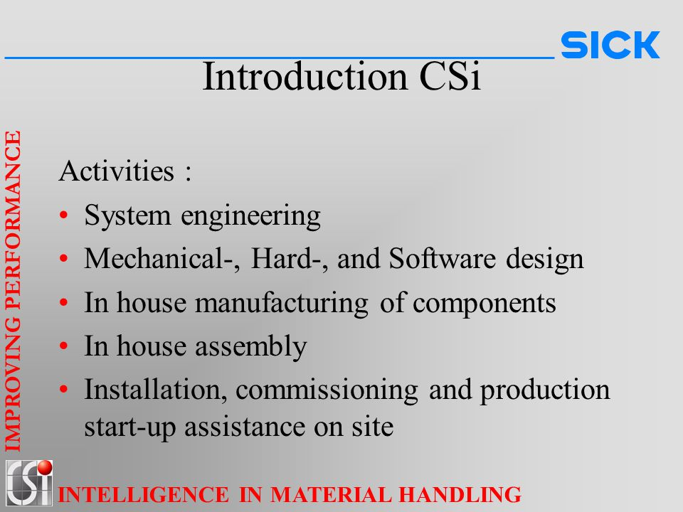 Introduction CSi Activities : System engineering