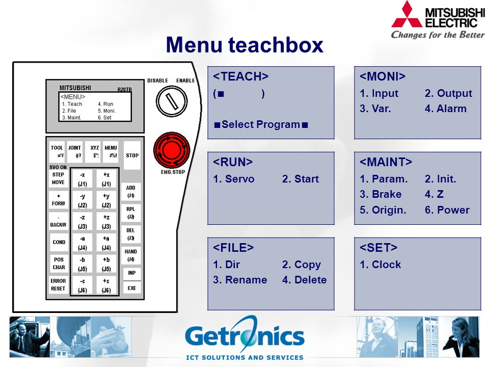 Menu teachbox <TEACH> <MONI> <RUN> <MAINT>