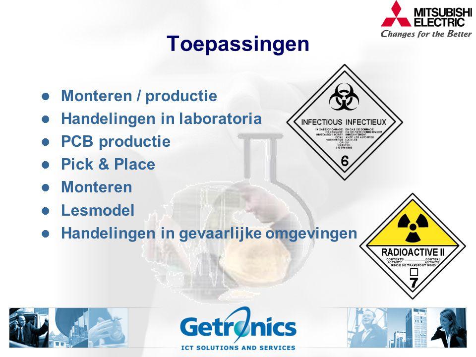 Toepassingen Monteren / productie Handelingen in laboratoria