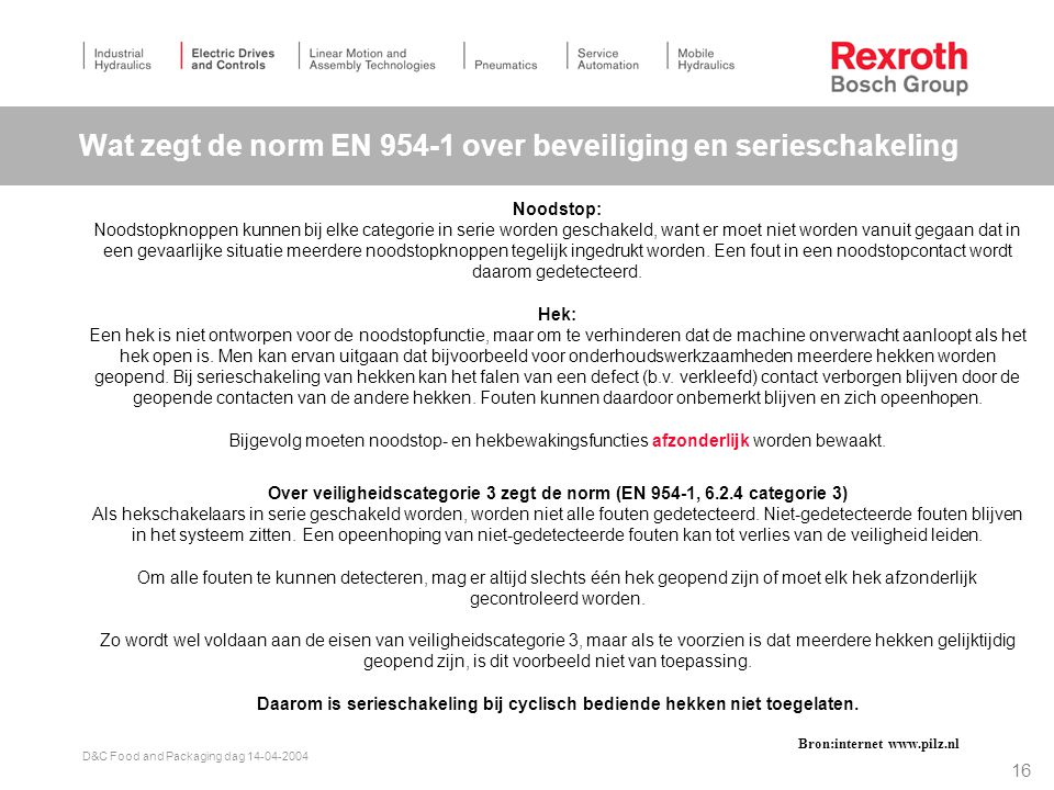 Wat zegt de norm EN 954-1 over beveiliging en serieschakeling