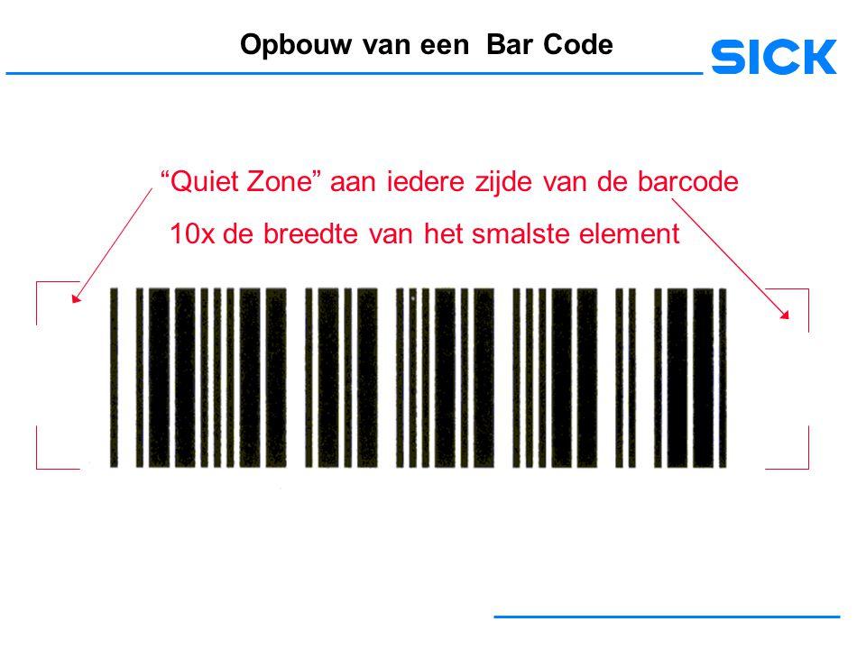 Opbouw van een Bar Code Quiet Zone aan iedere zijde van de barcode.