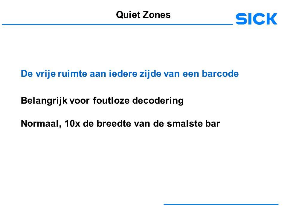 Quiet Zones De vrije ruimte aan iedere zijde van een barcode. Belangrijk voor foutloze decodering.