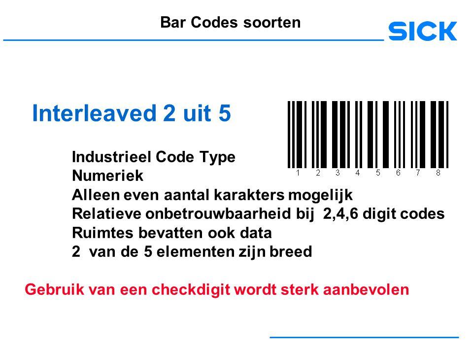 Interleaved 2 uit 5 Bar Codes soorten Industrieel Code Type Numeriek