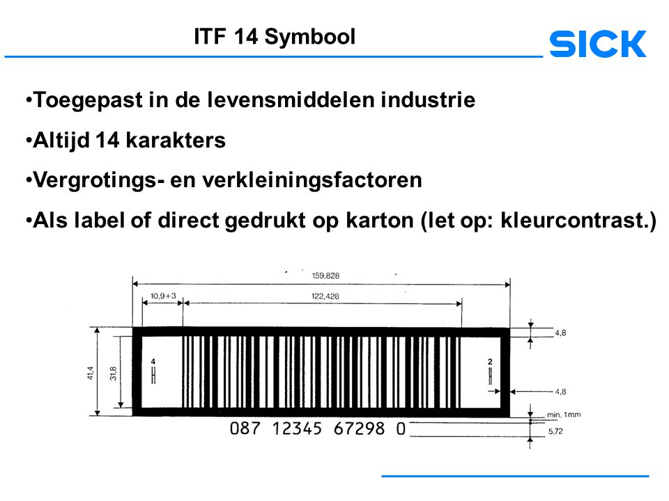 ITF 14 Symbool Toegepast in de levensmiddelen industrie. Altijd 14 karakters. Vergrotings- en verkleiningsfactoren.
