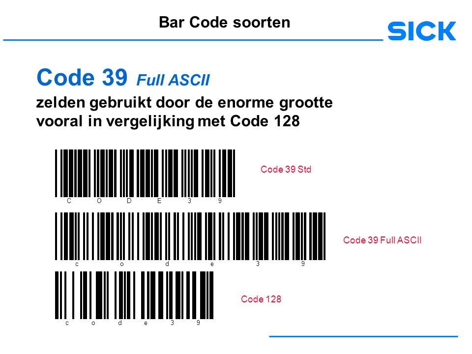 Code 39 Full ASCII Bar Code soorten