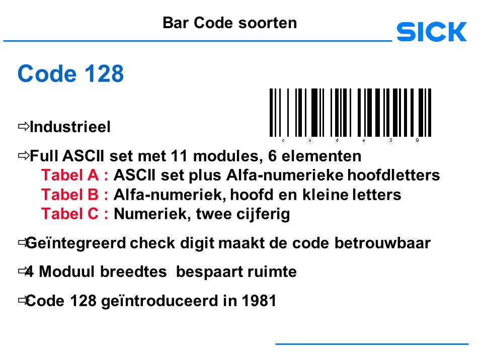 Code 128 Bar Code soorten Industrieel