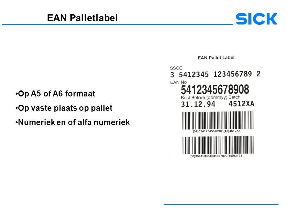 EAN Palletlabel Op A5 of A6 formaat Op vaste plaats op pallet