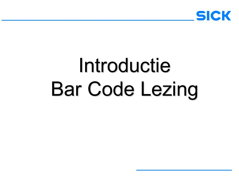 Introductie Bar Code Lezing