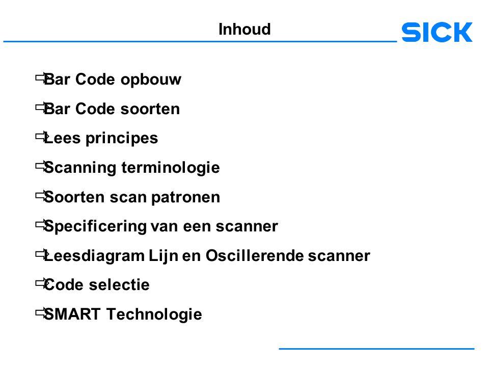 Inhoud Bar Code opbouw. Bar Code soorten. Lees principes. Scanning terminologie. Soorten scan patronen.