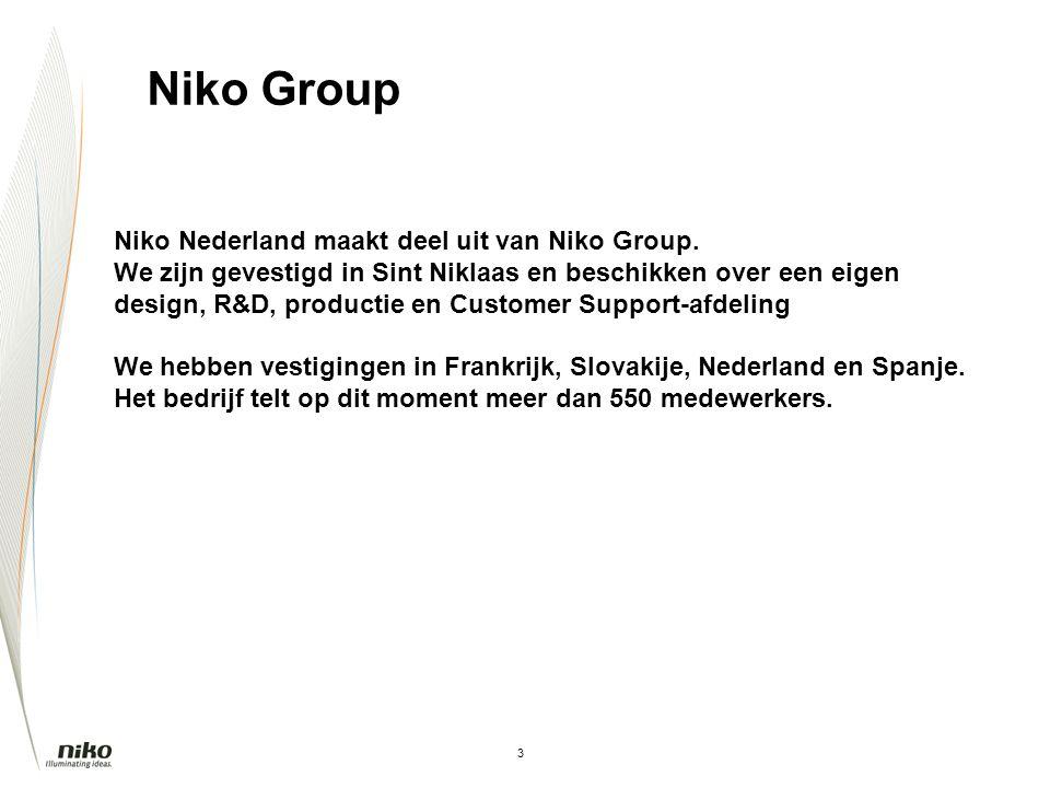 Niko Group Niko Nederland maakt deel uit van Niko Group.