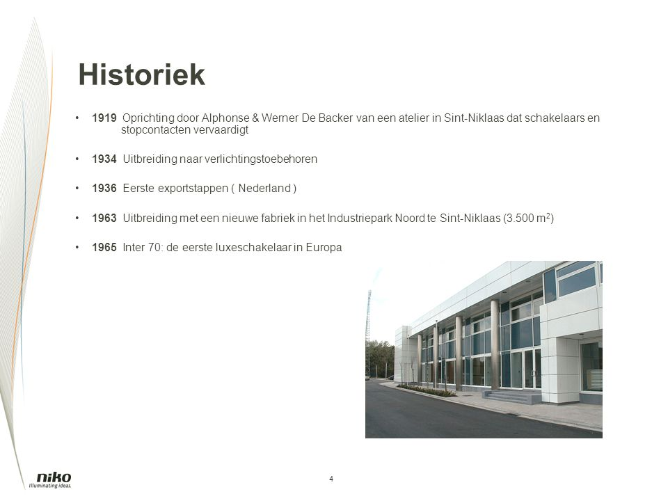 Historiek 1919 Oprichting door Alphonse & Werner De Backer van een atelier in Sint-Niklaas dat schakelaars en stopcontacten vervaardigt.