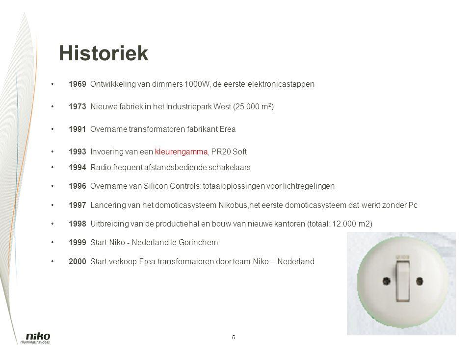 Historiek 1969 Ontwikkeling van dimmers 1000W, de eerste elektronicastappen. 1973 Nieuwe fabriek in het Industriepark West (25.000 m2)
