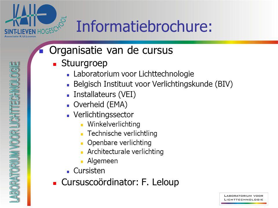 Informatiebrochure: Organisatie van de cursus Stuurgroep