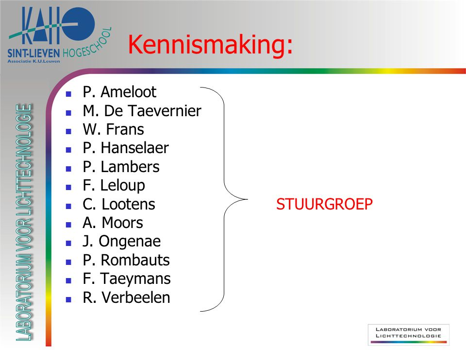 Kennismaking: P. Ameloot M. De Taevernier W. Frans P. Hanselaer
