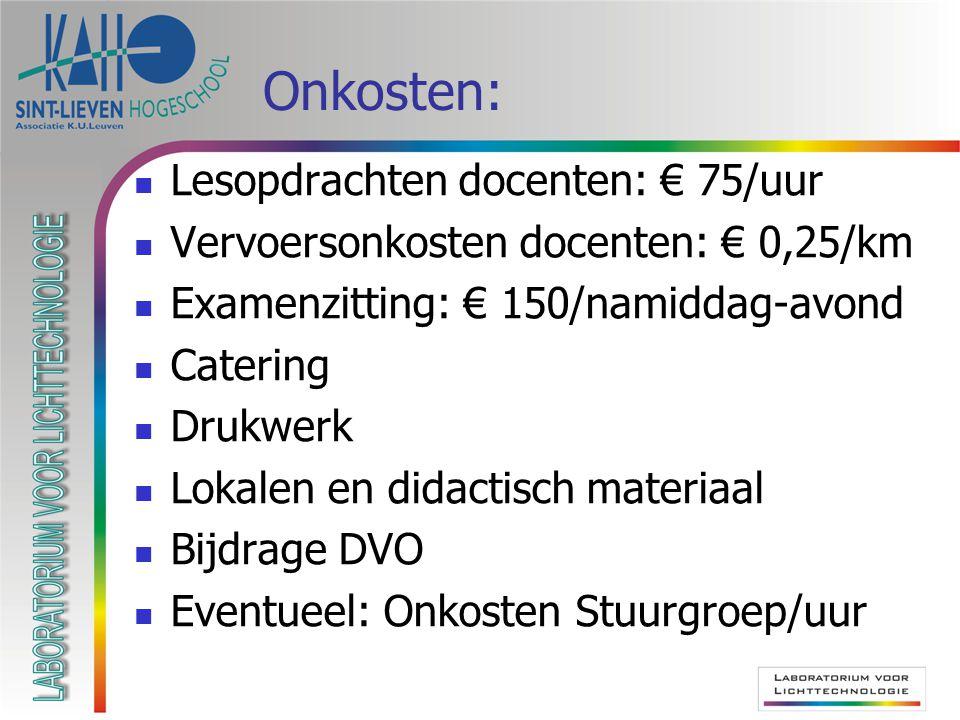 Onkosten: Lesopdrachten docenten: € 75/uur