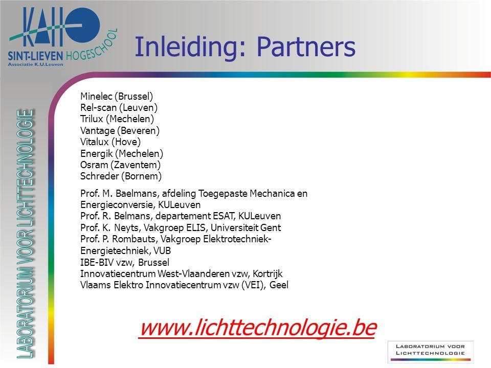 Inleiding: Partners www.lichttechnologie.be Minelec (Brussel)