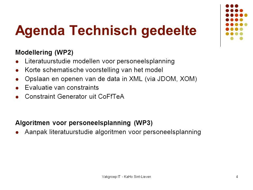 Agenda Technisch gedeelte