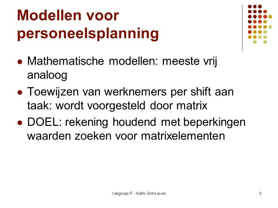 Modellen voor personeelsplanning
