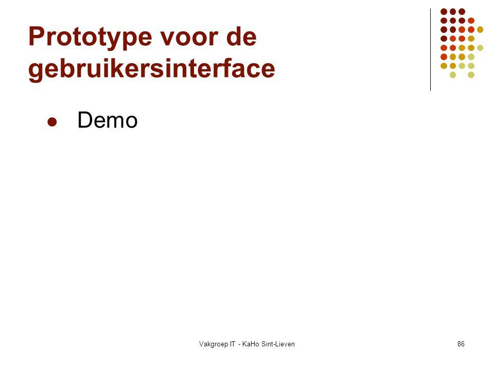 Prototype voor de gebruikersinterface
