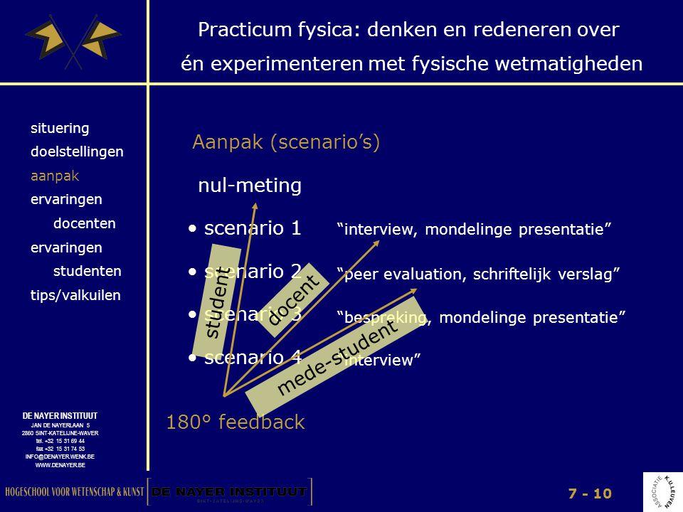 Aanpak (scenario's) nul-meting scenario 1 scenario 2 student docent