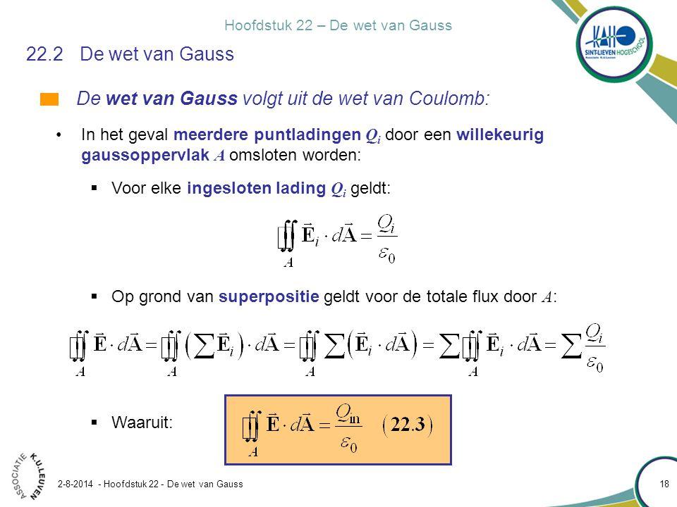 De wet van Gauss volgt uit de wet van Coulomb: