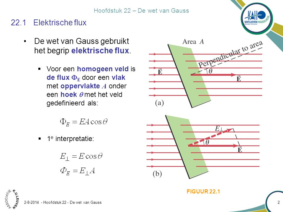 De wet van Gauss gebruikt het begrip elektrische flux.