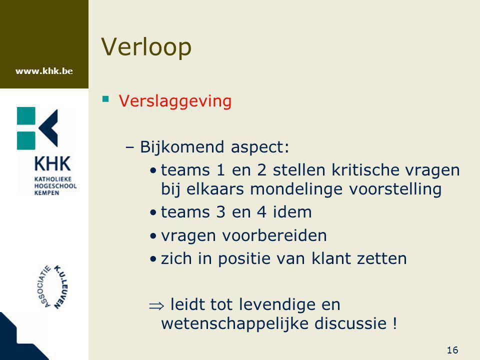 Verloop Verslaggeving Bijkomend aspect: