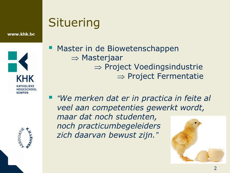 Situering Master in de Biowetenschappen  Masterjaar  Project Voedingsindustrie  Project Fermentatie.