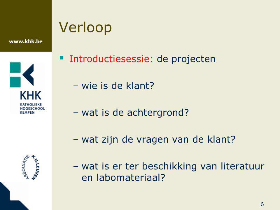 Verloop Introductiesessie: de projecten wie is de klant