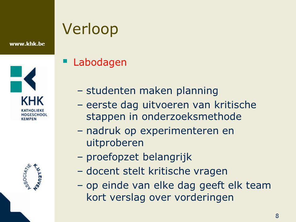 Verloop Labodagen studenten maken planning