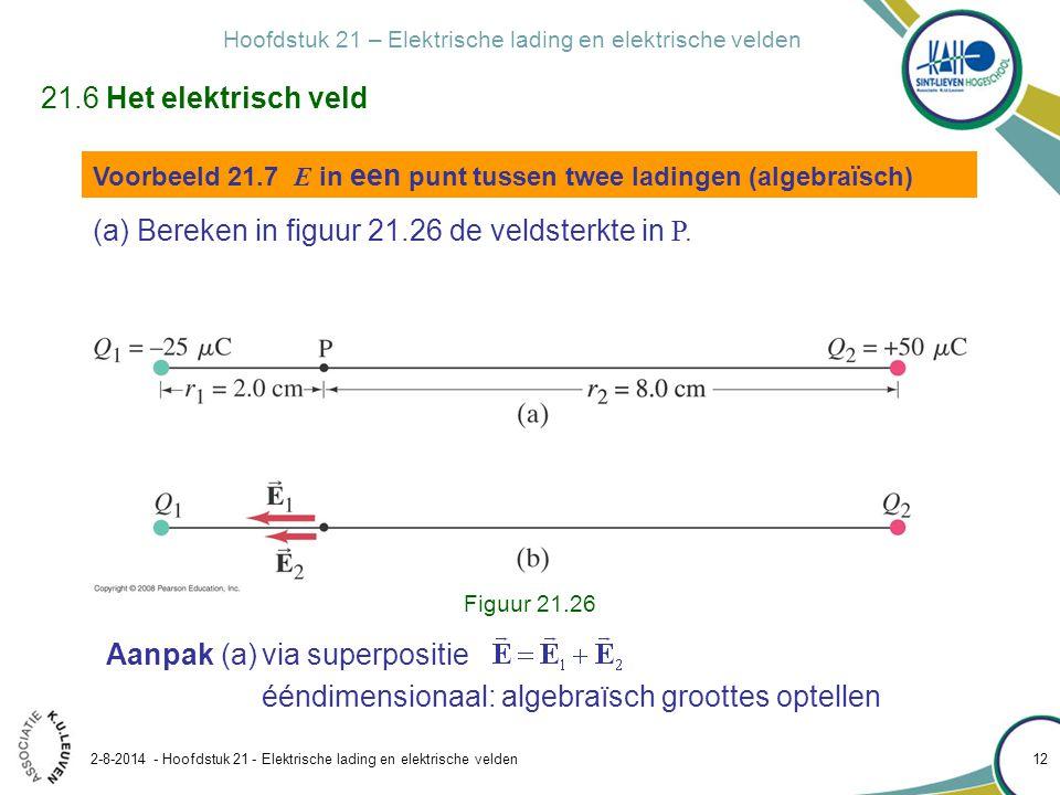 Bereken in figuur 21.26 de veldsterkte in P.