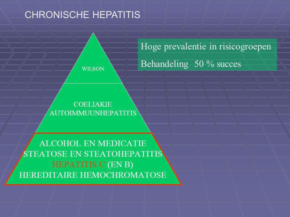 CHRONISCHE HEPATITIS Hoge prevalentie in risicogroepen Behandeling 50 % succes