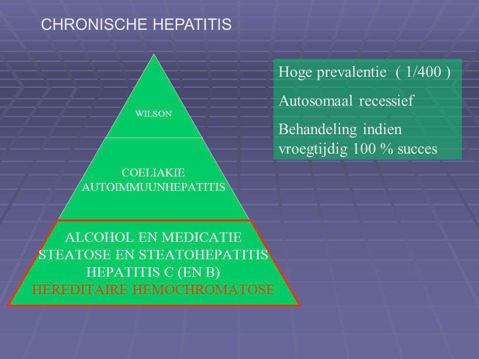 CHRONISCHE HEPATITIS Hoge prevalentie ( 1/400 ) Autosomaal recessief.